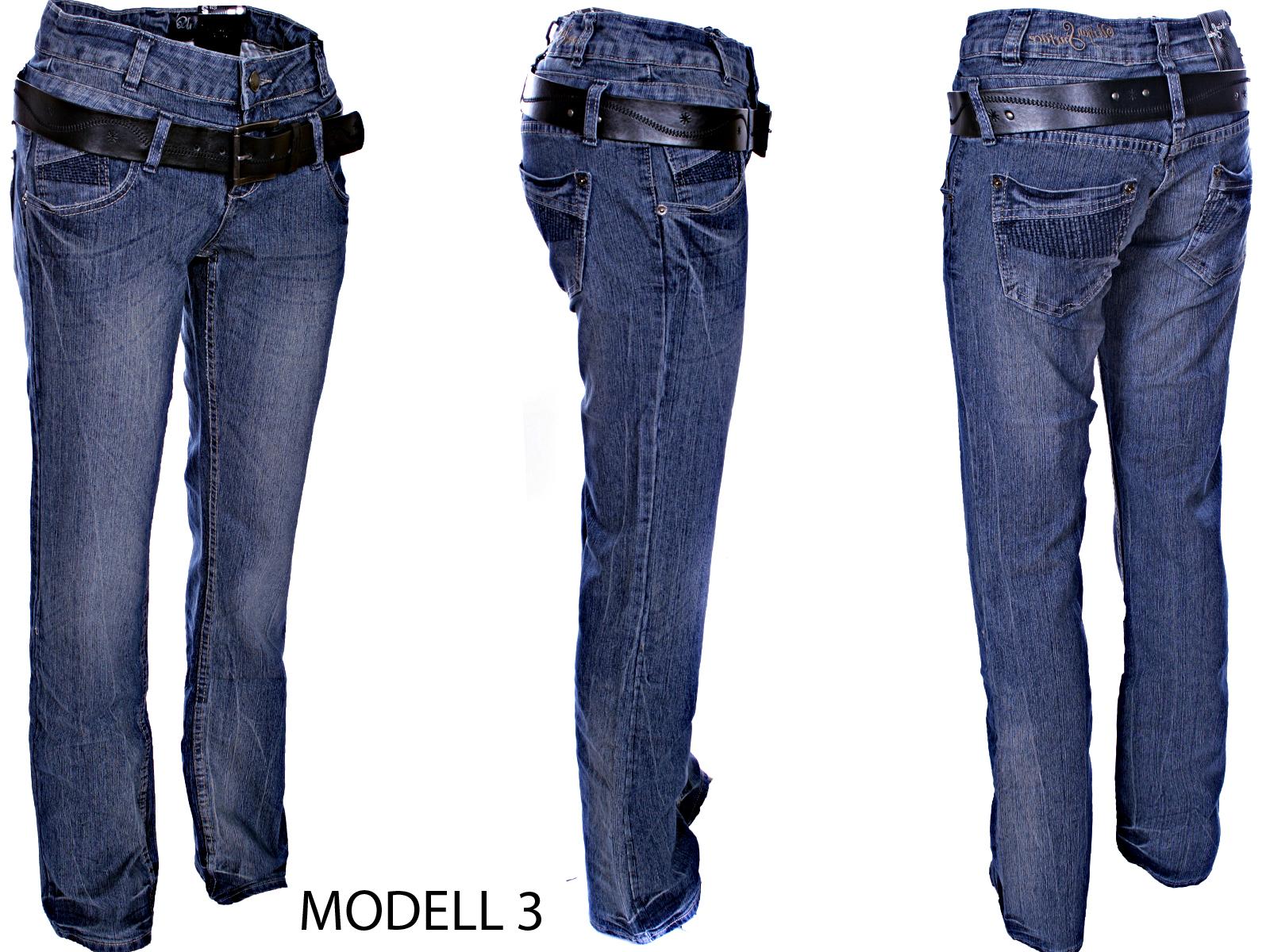 urban surface damen jeans hose stretch boysfit doppelbund mit g rtel. Black Bedroom Furniture Sets. Home Design Ideas