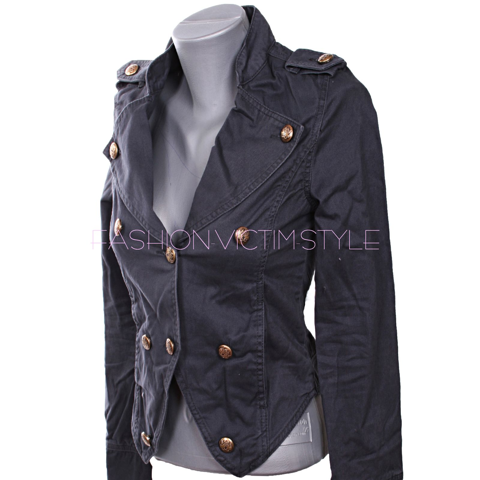 neu damen jacke blazer military style blau olive. Black Bedroom Furniture Sets. Home Design Ideas