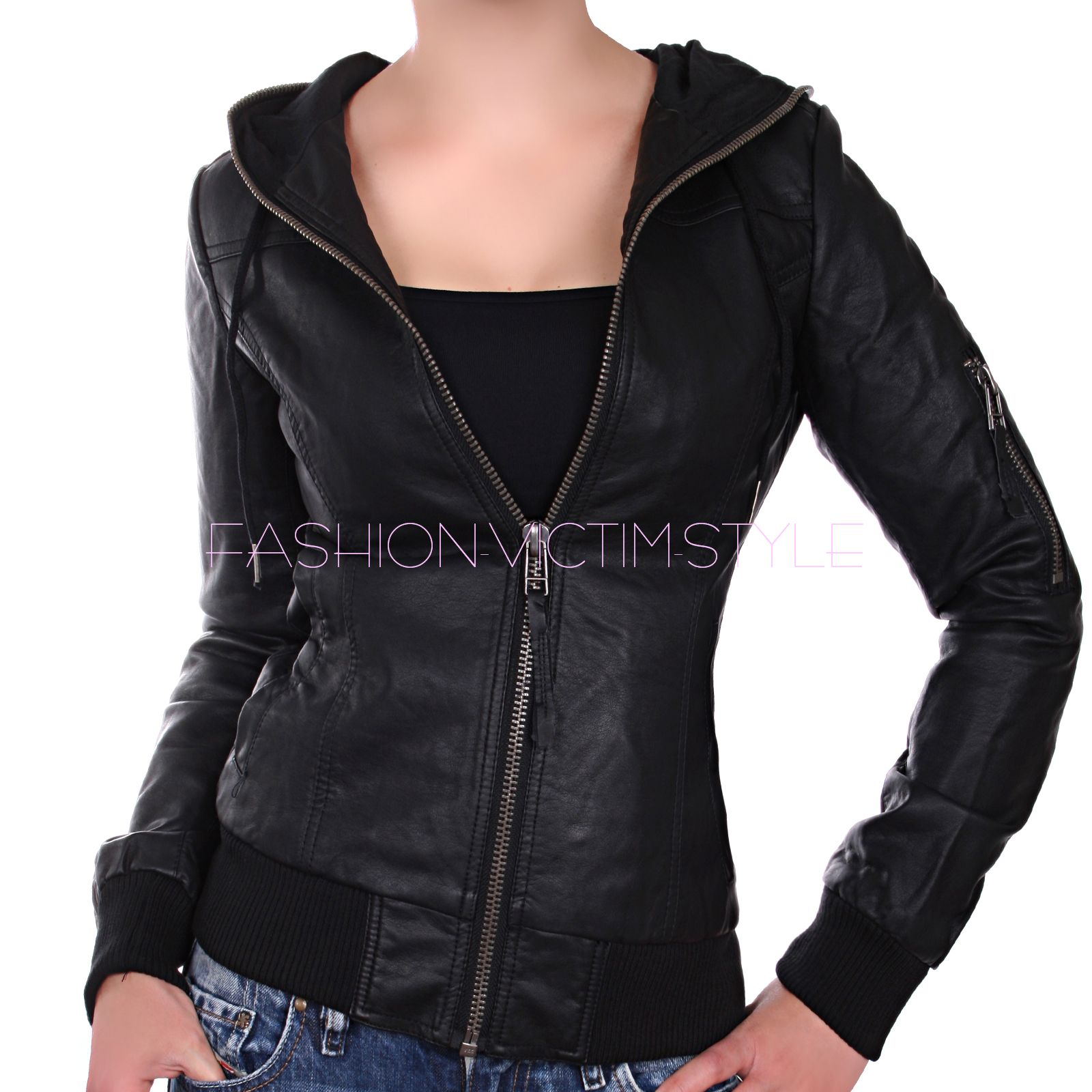 damen kunst lederjacke biker jacke kapuzen jacke jacket schwarz 34 36 38 40 42 ebay. Black Bedroom Furniture Sets. Home Design Ideas
