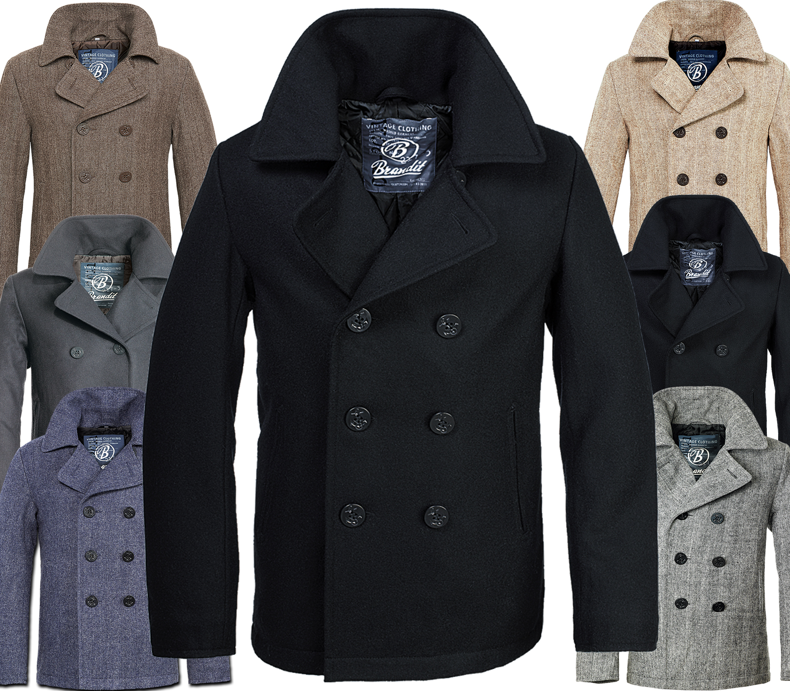 brandit homme laine manteau pea hiver veste parka caban marine ebay. Black Bedroom Furniture Sets. Home Design Ideas