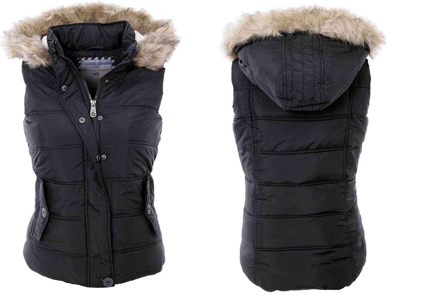 Urban surface women 39 s vest jacket quilted vest hood warm for Weste mit fell